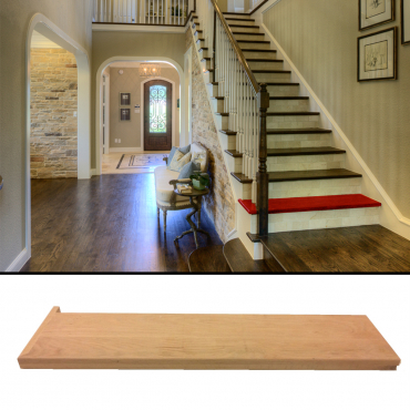 stairs and railings supplies Tread Left Red Oak Square Edge