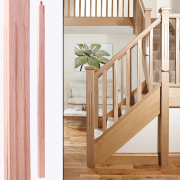 stairs and railings supplies Spindle Red Oak Square Fluted