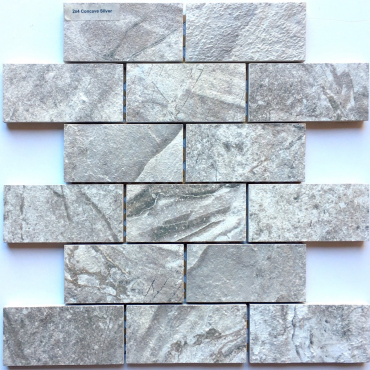 wall mosaics tiles ConcavesilverTrustoneMosaic2x4