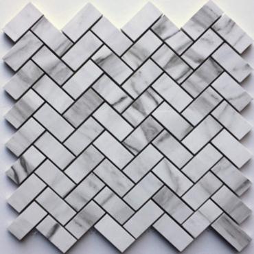 wall mosaics tiles Fusion White Tru-Stone Herringbone 1x2