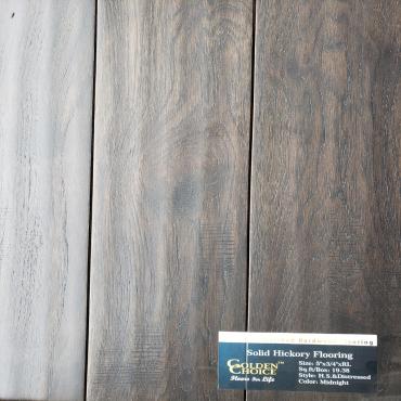 "hardwood 5"" Midnight Handcraped & Distressed Hickory Solid Hardwood Flooring"
