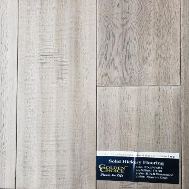 """hardwood 5"""" Handscraped & Distressed Morten Grey Hickory Solid Hardwood Flooring"""