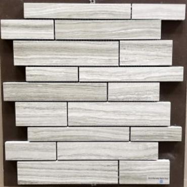 wall mosaics tiles Serenity Dark Grey Matte Tru-Stone Random Strips Mosaics 12x13