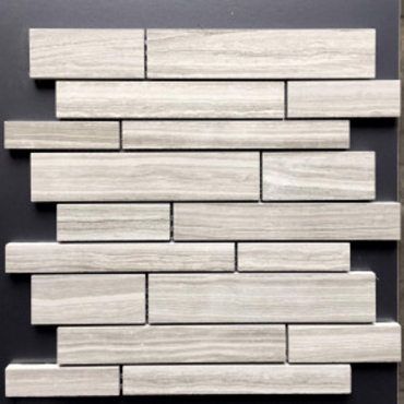 wall mosaics tiles Serenity Light Grey Matte Tru-Stone Random Strips Mosaics 12x13