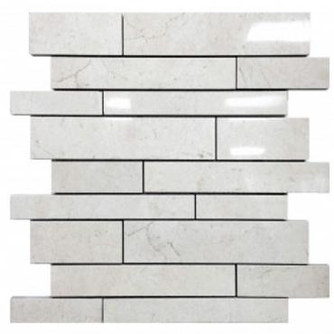 wall mosaics tiles Crema Luna Tru-Stone Random Strips Mosaics 12x13