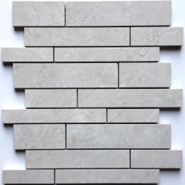 wall mosaics tiles Majestic Pearl Tru-Stone Random Strips Mosaics 12x13