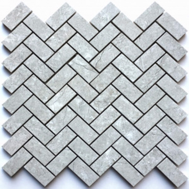 wall mosaics tiles Bazalt Grey Tru-Stone Herringbone 1x2