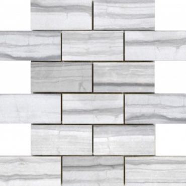 wall mosaics tiles Denver Ice Grey Tru-Stone Mosaic Porcelain 2x4
