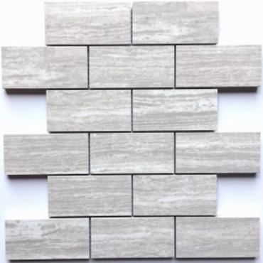 wall mosaics tiles Elora Grey Tru-Stone Mosaic Porcelain 2x4