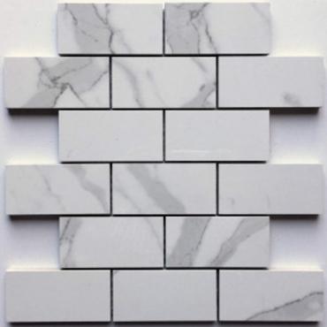 wall mosaics tiles StatuarioTru-StoneMosaicPorcelain 2x4