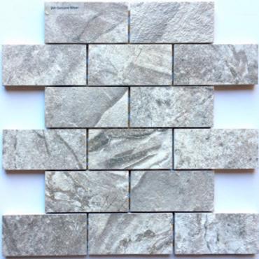 wall mosaics tiles Concave Silver Matte Tru-Stone Mosaic Porcelain 2x4