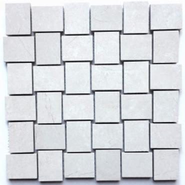 wall mosaics tiles Bazalt Grey Polished Tru-Stone 2x2 Basketweave