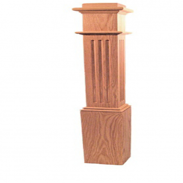 stairs and railings supplies Post Square Fluted Red Oak with Base